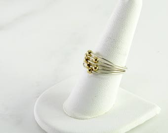 Sterling Ring with Gold Slide Balls Size 9