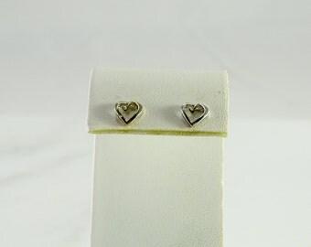 14K White Gold Open Heart Pierced Earrings