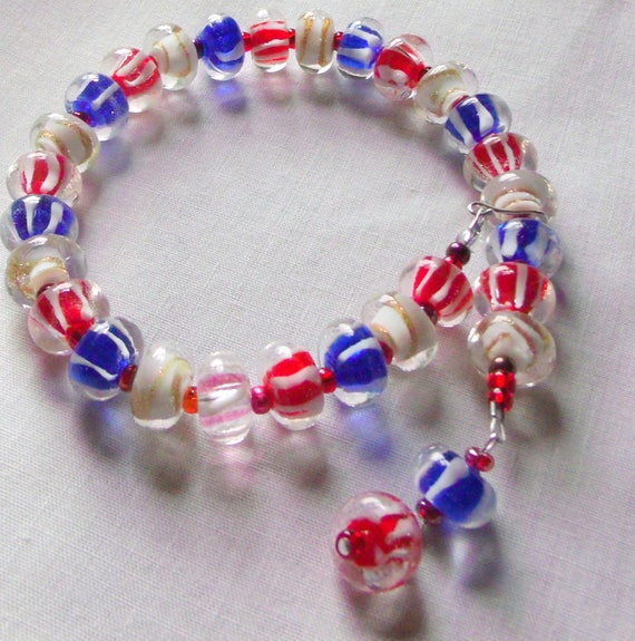 """12 """" Candle ring - pillar - tin - cottage chic -  4 th of July - candle wrap - add on gift - red/white/blue stripe - lamp work bead, hostess"""