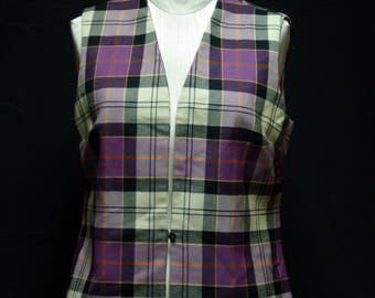 Classic Violet & Black Plaid Scottish Wool Vest