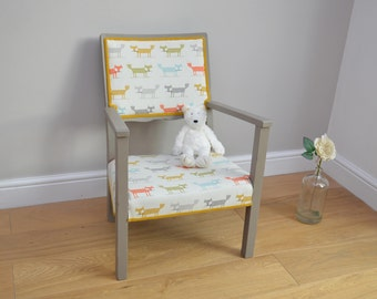 Beautiful Vintage Childs Chair reupholstered with Fox fabric - Nursery chair
