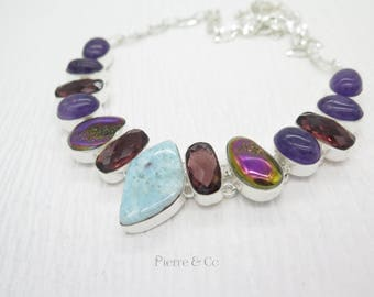 Larimar Kunzite Amethyst Titanium Drusy Sterling Silver Necklace