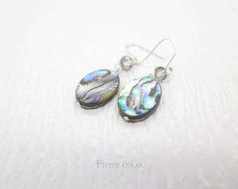 Abalone Shell Sterling Silver Dangle Earrings