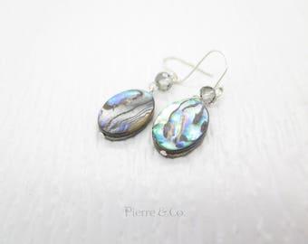 Abalone Shell Sterling Silver Dangle Earrings
