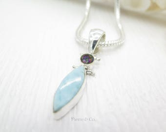 Larimar and Mystic Topaz Sterling Silver Pendant and Chain
