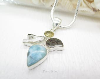 Larimar Fresh Water Pearl Citrine Ammonite Fossil Sterling Silver Pendant and Chain