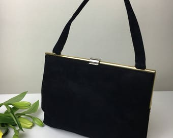 50's Koret Suede Black Handbag