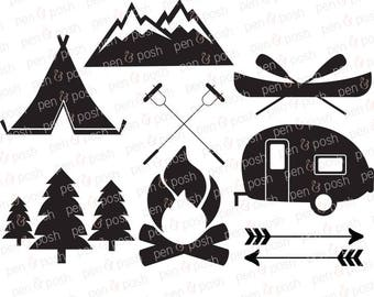 Camping SVG - Camping Clip Art - Camping Vector - SVG Files for Cricut - Campfire Svg - Camper Svg - Camp Svg - Camping - Summer