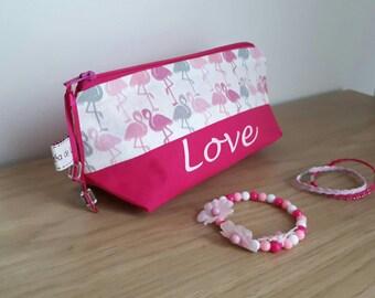 """Custom bag """"Love"""" pattern flamingos pink."""