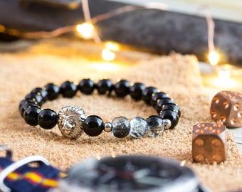 8mm - Black onyx & crackle glass beaded stretchy bracelet with silver Lion, lion bracelet, beaded bracelet, black bracelet, mens bracelet