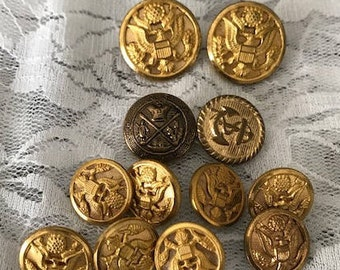 Vintage Gold Metal Buttons Millitary Buttons