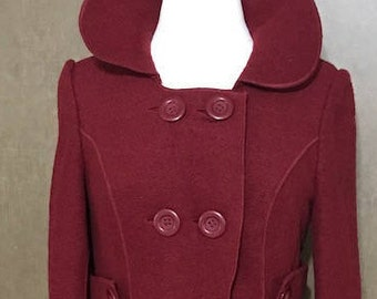 Vintage Wool Coat Burgundy Color with 2 Pockets and 4 Closure Bottons By Merona Size Medium Women's Coat