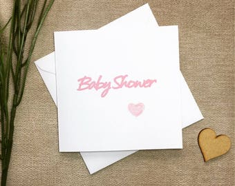 Baby shower card, pink baby shower card, baby girl card, card for new baby