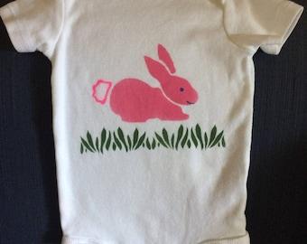 Bunny rabbit Onesie - bright pink, size 6 months