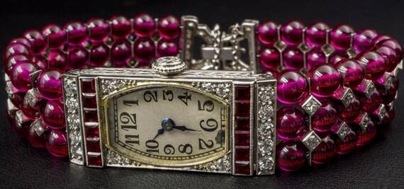 Art Deco 1928 Cresarrow IWC Watch Platinum Diamond Ruby Whiteside Blank CO143