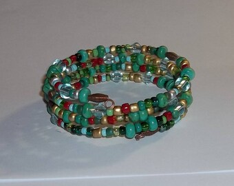 Turquoise Picasso Style Mixed Bead Artisan Crafted Antique Copper Wrap Bracelet