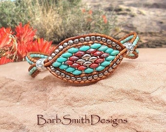 Turquoise Wrap Bracelet-Beaded Leather-Unique Bracelet-Wide Wrap-Turquoise Red Silver Superduo--Custom Sizes-Starry-Eyed One in Turquoise