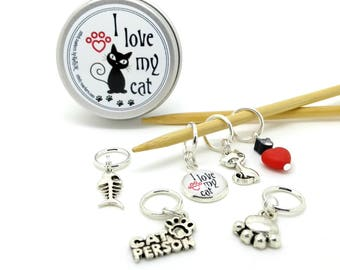 Cat stitch markers - pet stitchmarkers - pet lover place holders - kitty progress keepers with notions tin