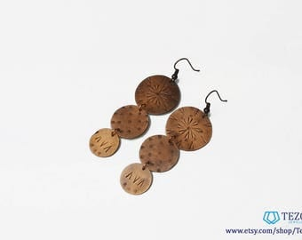disc copper earrings, dangle copper earrings, circle, boho earrings, tribal