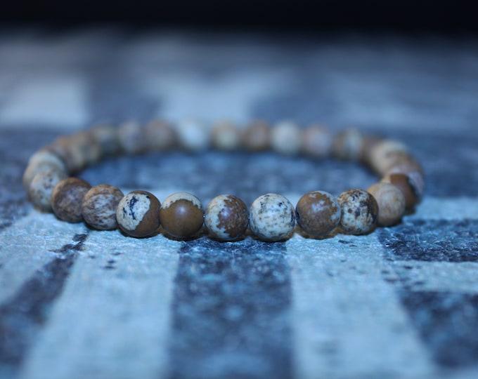 Featured listing image: Men's Jasper Bracelet, Frosted Picture jasper 6 mm polished stone beads, Stretch Bracelet