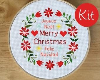 Merry Christmas Modern Cross Stitch Kit - Modern Feliz Navidad, Joyeux Noel, X-mas Cross Stitch, Counted Cross Stitch Pattern