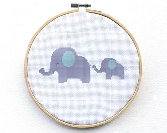Cross Stitch Pattern Baby Gift - Cute Elephant Cross Stitch Pattern - Pdf - Instant Download