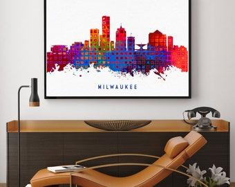 Milwaukee Skyline Art, Milwaukee Print, Milwaukee Painting, Milwaukee Poster, Colorful Milwaukee, Wisconsin Painting (N188)