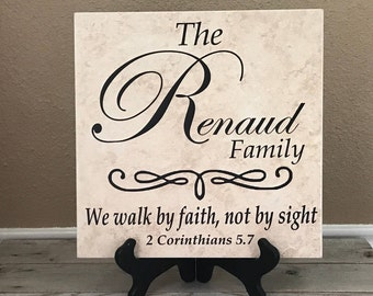 Personalized Family Sign, Name Tile, Family Gift, Wedding Gifts, Spiritual Gifts, Personalized Sign, Last Name Sign, Ceramic Tile, Gifts