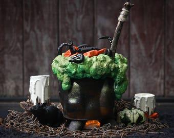 Witch's Cauldron Halloween Decor - Black Kettle Centerpiece - Candy Holder Pot Decoration - Green Foam & Tentacles - Halloween Art Bowl