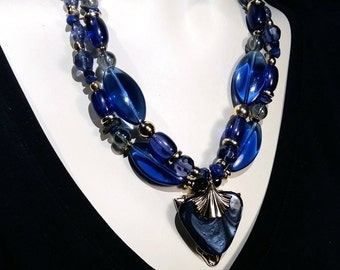 Big and bold  Royal Navy choker, double row statement necklace, galss and crystal Wow Factor