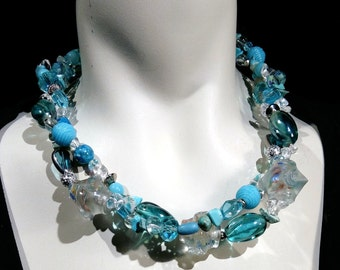 Big and bold statement turquoise choker,glass beads, crystal Eye catcher, easy upgrade