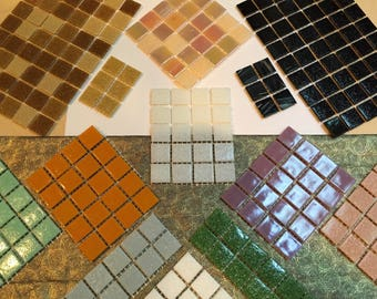 Mosaic, Tiles, 300 total, glass, thin, 20 mm, squares, Assorted, 13 types,  So EASY to CUT or TRIM, for mosaic artwork,  # 8