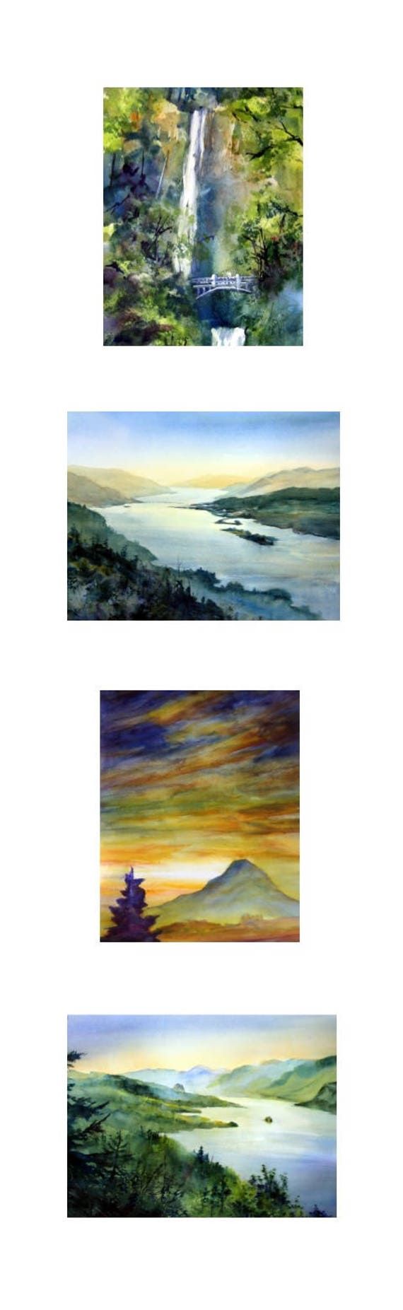 8x26 - 4 vertical landscape prints of the Columbia Gorge