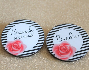 Chanel Inspired Bachelorette Party Badges - Kate Spade Bridal Shower Wedding Showers - Hens Night Hen Parties - Wooden Badge - Monochrome