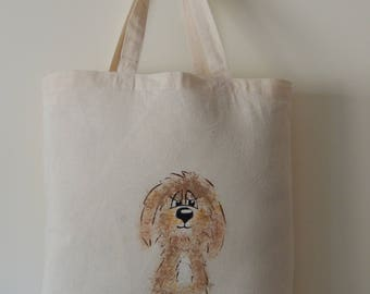 Hand painted Golden Doodle dog - recycled tote bag