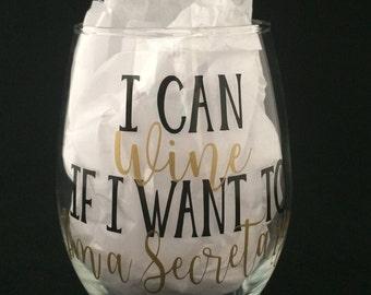 Secretary Wine Glass, Secretary Gift, Secretary Appreciation Cup, School Secretary Christmas Gift, Gold Vinyl Secretary, Administration Gift
