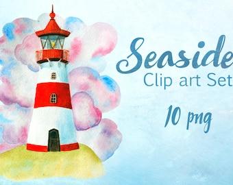 Watercolor Seaside Clip Art Set - 10 png