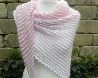 Delicate triangle cloth SCHALTUCH mohair silk cotton pink White