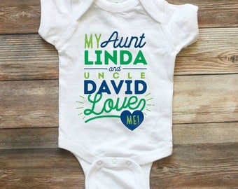 Uncle baby clothes etsy my aunt and uncle love me shirt custom baby clothes name i love my negle