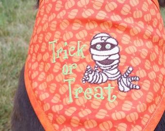 Halloween bandana, reversible, mummy, orange, pumpkins, trick or treat bandana, available in Small, medium, large