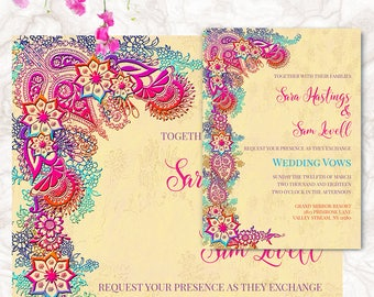 Bohemian Wedding Invitation - Bollywood Wedding Invite - Printable Invitation Suite | SARA