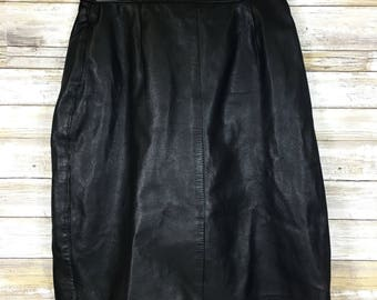 Vintage 1980s Bagatelle Black Soft Leather Pencil Straight Skirt