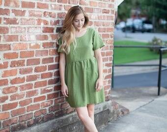 Handmade Short Linen Ruffle Dress