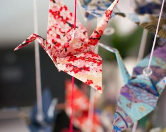Origami Crane Garland (Red Cherry Blossom)