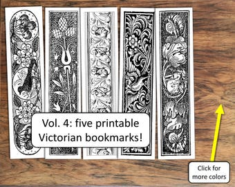 Printable bookmarks, 19th century, for DIY tags, labels, gifts, or favors, vol. 4
