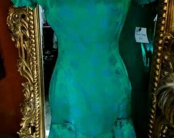Vintage 1960's Elinor Gay Original Blue and Green Wiggle Dress!