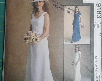 McCalls 9183 Wedding Dress Pattern, Size 12, Bridesmaids Dress, Alicyn Exclusives, Casual Wedding Dress, Simple, Garden Wedding, Sewing