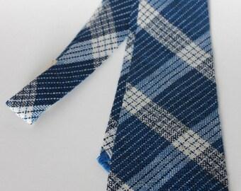 Vintage Blue Plaid Wool Tie