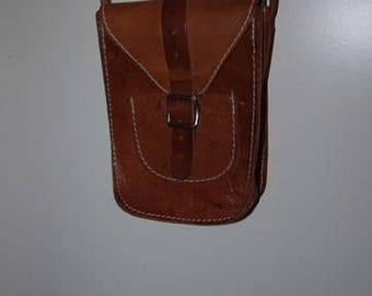 Small Leather Bag - Retro - 1970 - Light brown - Cross over - Sweden -