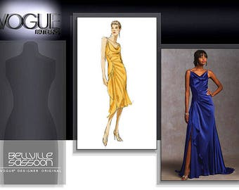 Vogue V1031 Size 6-8-10 Bellville Sassoon Misses Close Fitting Lined Dress Gown Sewing Pattern / Uncut FF